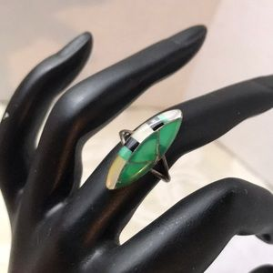 Vintage sterling silver inlay ring